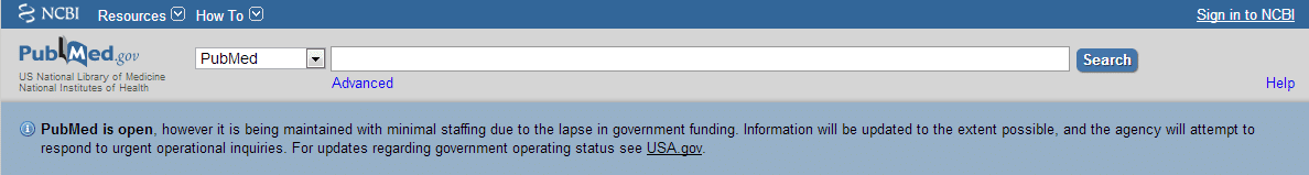 PubMed Shutdown